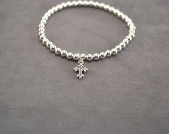 Sterling Silver Bracelet, Silver Bracelet, Stackable Bracelet, Stretch Bracelet, Silver Bracelet with Cross, Silver Bead Bracelet