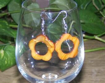 Brown Shell Flower Earrings, Women's Brown Earrings, Brown Gemstone Earrings