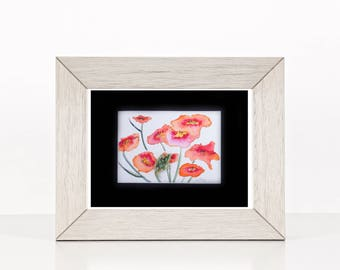 Original watercolor poppy artwork, bright floral painting, vintage brooch leaf, hand painted contemporary artwork, poppy flower painting,