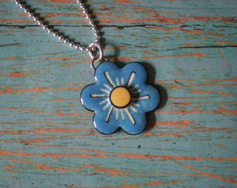 Blue and Yellow Flower Enameled pendant with Sterlling Silver bead/ball chain