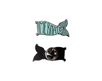 Mermaid Tail Flag Enamel Pin Badge: 30mm cute banner fairytale brooch, hat pin or lapel pin. For you, best friend or party bag filler!
