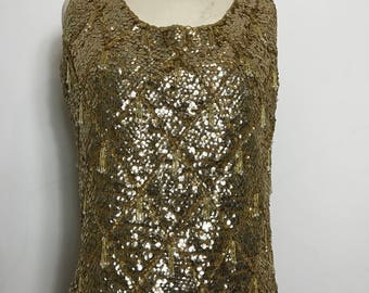 REDUCED Fabulous 1960s Gold Sequin Beaded Go-Go Top by Alan Lee, Large