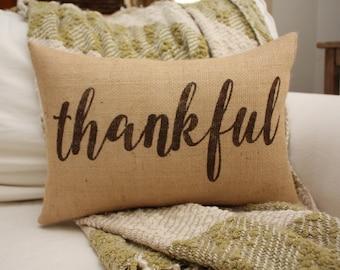 Thankful Pillow / Thanksgiving Decor / Thanksgiving Pillow