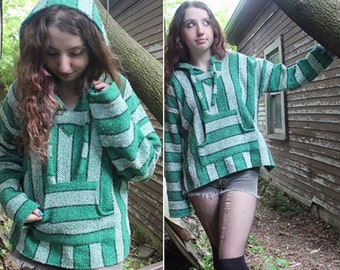 Vintage Hooded Jacket DRUG RUG Blanket Coat 90s Grunge Green HOODIE Sweatshirt Size Medium Mexican Pullover top Hippie Camp Festival Sweater