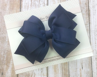 Navy Girls Bow - Navy Hair Bow - Blue Hair Clip - Navy Toddler Bow - Classic Hair Bow - Navy Blue Bow - Hair Bows for Girls - Navy Baby Bow