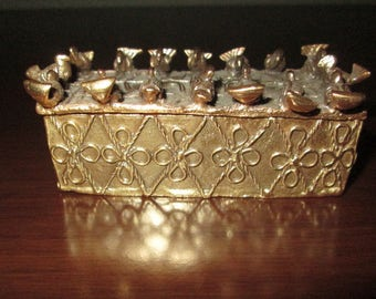 Vintage Gold Dust Box, Metropolitan Museum of Art Reproduction 1989, 24 kt Gold and Pewter