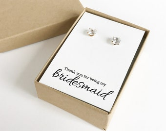 Thank You For Being My Bridesmaid Jewelry Boxes (Earrings not included) | Gift Boxes | Jewelry Boxes | Bridesmaid Gifts | SJBS1