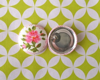 Fabric Covered Button Earrings / Wholesale Jewelry / Pink Flower / Stud Earrings / Small Gifts / Stocking Stuffers