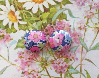 Fabric Covered Button Earrings / Purple and Pink / Wholesale Jewelry / Stud Earrings / Unique Gifts / Birthday Present / LIMITED SUPPLY