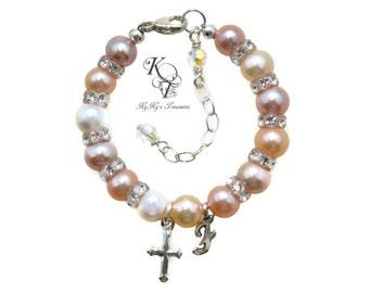Baby Bracelet, Real Pearl Bracelet, Baptism Gift, Baby Keepsake, Baby Name Bracelet, Christening Gifts, Baby Gifts, Baby Baptism Gift