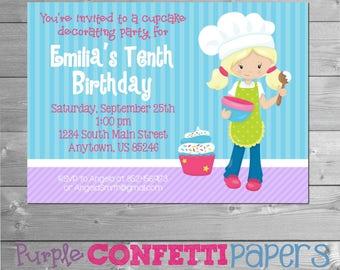 Cupcake Decorating Party, Baking Birthday Invitation, Cooking Invitation, Baking Invite, Cookie Decorating Party, Cookie Party, Printable