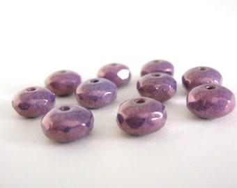 7x4mm Faceted Rondelle Purple Czech Bead Glass Purpleberry 25pcs