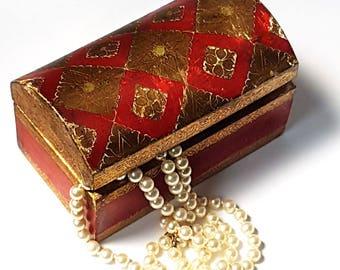 Antique Florentine Jewelry Box ,Vintage Italian Medieval Style trinket box ,Boho style Wedding Ring Box ,gilden jewelry carved box