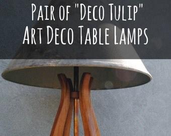 """Art Deco Lamp ~ PAIR of  """"Deco Tulip"""" Table Lamps, Desk Lamps, Original Design Art Deco, Art Nouveau"""