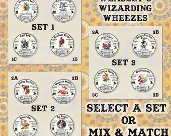Button Magnets: Harry Potter Potions, Weasley's Wizard Wheezes, A Set of Four Magnetic Pendants and Chain (Select a Set or Mix and Match)