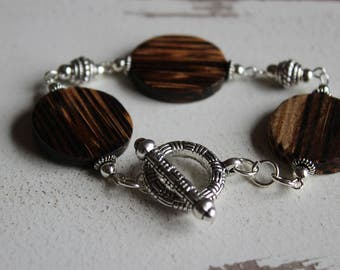 Wood and silver toggle bracelet