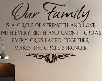 Our Family Wall Quote Home Sticker Living Room Removable