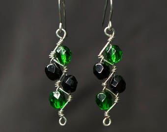 Green and Black Fire Polished Czech Glass Zig Zag Wrapped Wire Earrings