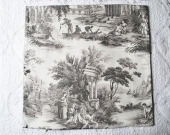 Elegant Gray & Cream Toile Custom-Made Pillow Cover Velvet Backing