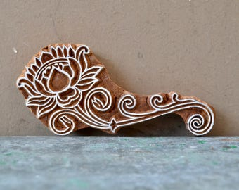lotus flower wood block textile stamp ( small ) finely carved traditional Indian Henna wooden printing textile stencil boho DIY craft
