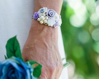 Purple Shabby Chic Wedding Bracelet, Purple Bridal Corsage, Floral Bridal Cuff, Vintage Bridal Corsage, Purple Bridal Bouquet, Corsage