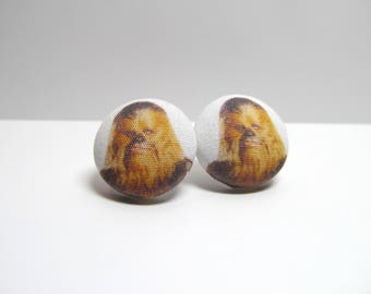 Chewie Fabric Button Earrings