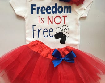 Baby Girl Outfit-  4th of July baby outfit  - Patriotic baby girl - Red, white blue baby - Freedom is NOT Free-Choose your pieces