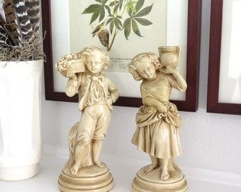 Vintage Alexander Backer Chalkware Figurines, Boy and Girl Figurines, Pair of Statues | BoulderBlueStudio