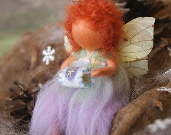 The fairy and the first snow , doll - Waldorf inspired, needle felted, by Naturechild