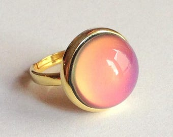 Mood Ring 24k Gold Plated Sterling Silver 925  - 16 mm - High Quality - adjustable - new