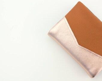 Leather Credit Card Holder, Business Card Holder, Rose Gold Metallic Leather, Cognac Gift Card Holder, Credit Card Organizer