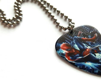 Spiderman Guitar Pick Necklace with Stainless Steel Ball Chain - superhero
