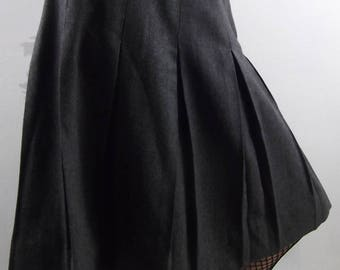 VINTAGE GREY SKIRT 1950's Wool Pleated Size Small