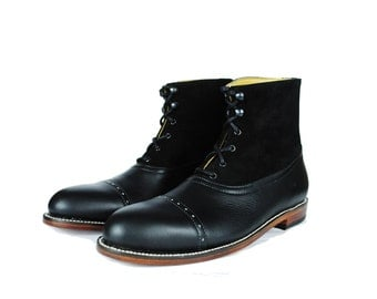 HESSE Balmoral Ankle Boots. BLack Two Textures Leather Boots.  (All Men's and Women's Sizes)
