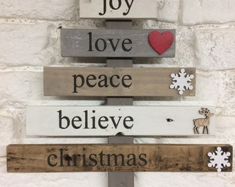 Wooden Christmas Tree - christmas decorations - rustic wood - rustic christmas - pallet tree - upcycled