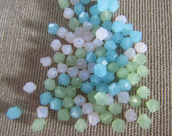 4mm Spring Mix Bicones (100) Blue Opal Green Opal White Opal Opague Glass Crystals Crystal Beads Loose Beads Faceted Crystals Jewelry Making