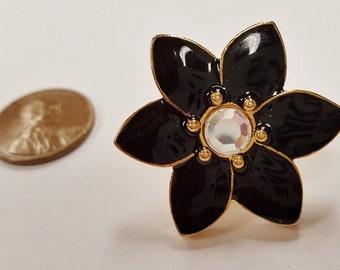 1 Black Enamel Flower Crystal Rhinestone Gold 32x28mm. Screw Back Post Finding E262