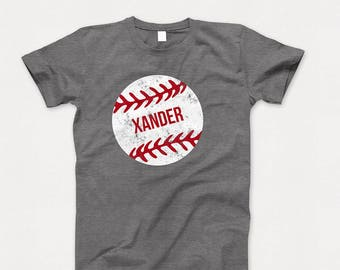 Custom Name Baseball Graphic T Shirt Personalized Sports Themed Unisex Heather Gray and Red Baseball Tee Shirt