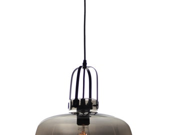 EQLight Glass Pendant Light Industrial Collection - 2 colors: Smokey and Amber.
