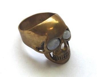 Skull Ring with Moonstone Eyes (JB-R-014)