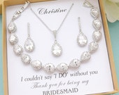 Bridesmaid Gift, Bridesmaid Jewelry Set, Bridesmaid Earrings Bracelet Necklace Set, Personalized Bridesmaid Party Gifts, Wedding Jewelry