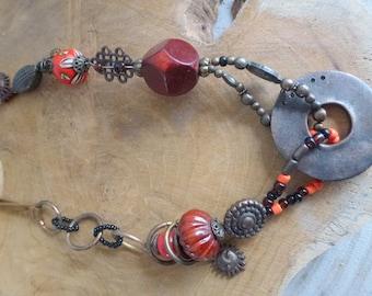 old beaded vintage necklace- red orange necklace
