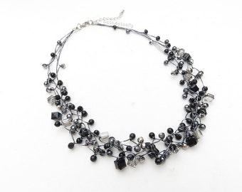 Black crystal necklace with hematite, stone on silk thread