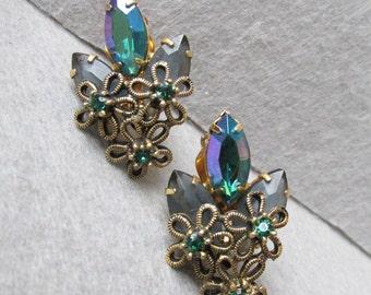 Pretty AB Emerald Green Marquise Rhinestone & Flower WIRE Vintage Earrings