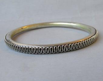 Vintage Heavy Completely Scrolled Balinese Sterling Silver Bangle Bracelet