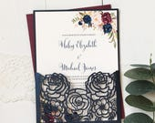 Laser Cut Wedding Invitation suite, Marsala and Navy Wedding Invitation, Burgundy Wedding Invitation, Vintage Wedding Invitation, Elegant