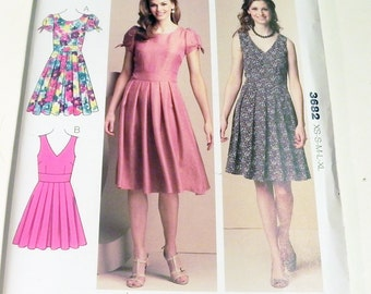 Sleeveless Dress Party Fit Flare Pleated Skirt Gathered Sleeves sewing pattern Kwik Sew 3682 Bust 31.5 32.5 34 35.5 37 38.5 40 42.5 43 45""