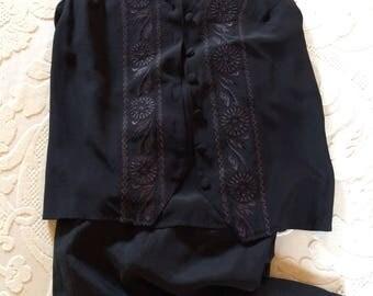Vintage Black Silk Vest and Slacks