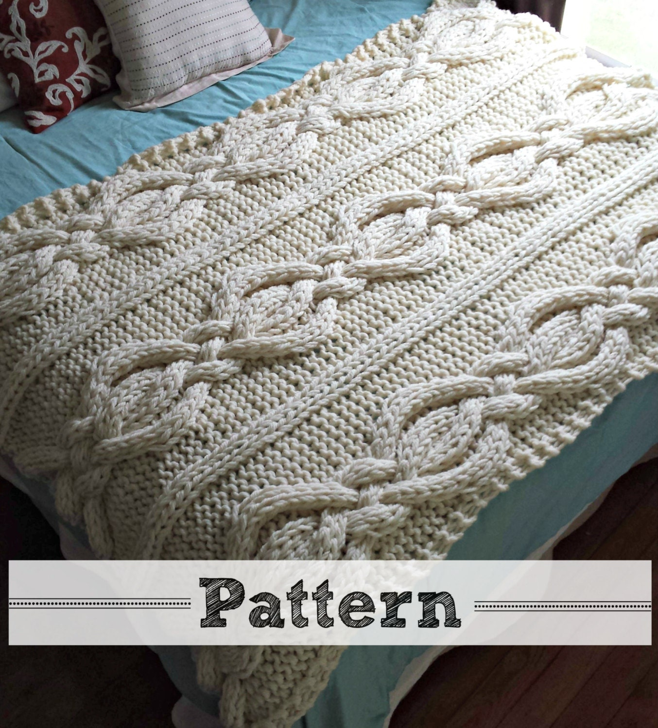 Cable Knit Throw Pattern : Twisted Cable Knit Blanket PATTERN