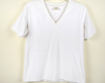 Vintage White V-neck Terry Cloth Top by White Stag S/M